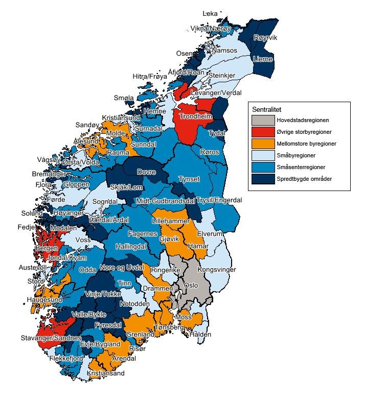 kommune kart over norge Regionale utviklingstrekk 2016 (RUT)   regjeringen.no kommune kart over norge