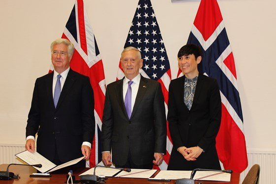 The United States, the United Kingdom, and Norway signed a statement of intent to lay out guiding principles for trilateral partnership with P-8A Aircraft today.