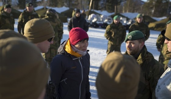 Norwegian Defence Minister Ine Eriksen Søreide during Exercise Joint Viking in Finnmark, March 2017.
