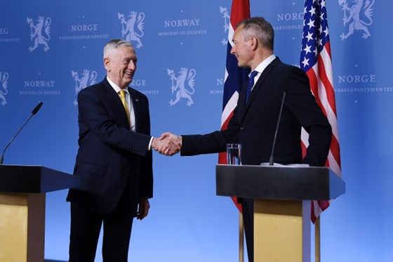 Norwegian Minister of Defence Frank Bakke-Jensen and United States Secretary of Defense James N. Mattis during the press statement at the Norwegian Ministry of Defence 14th July 2018