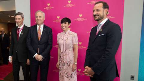 Crown Prince Haakon, the Minister of Foreign Affairs Ine Eriksen Søreide and the UN ambassador Tore Hattrem at the reception for the launch of Norway's campaign.