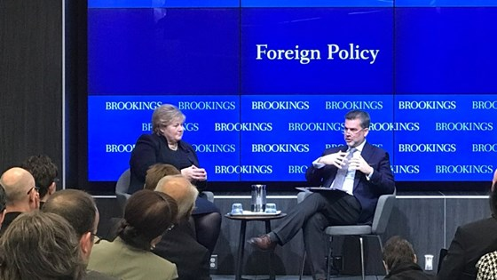 Prime Minister Erna Solberg at Brookings in Washington, DC.