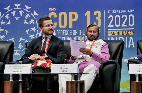 Minister Rotevatn and minister Javdekar Foto: KLD