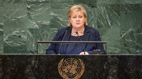 Prime Minister Erna Solberg at the United Nations General Assembly 2018
