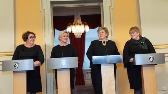Olaug Vervik Bollestad, Siv Jensen, Erna Solberg og Trine Skei Grande