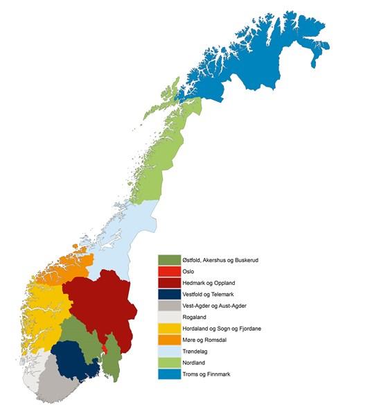 kart over fylker norge Nye fylker   regjeringen.no
