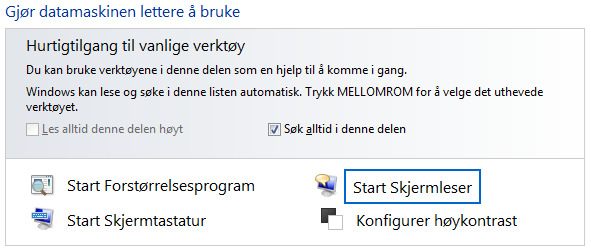 Aktivering av windows skjermleser