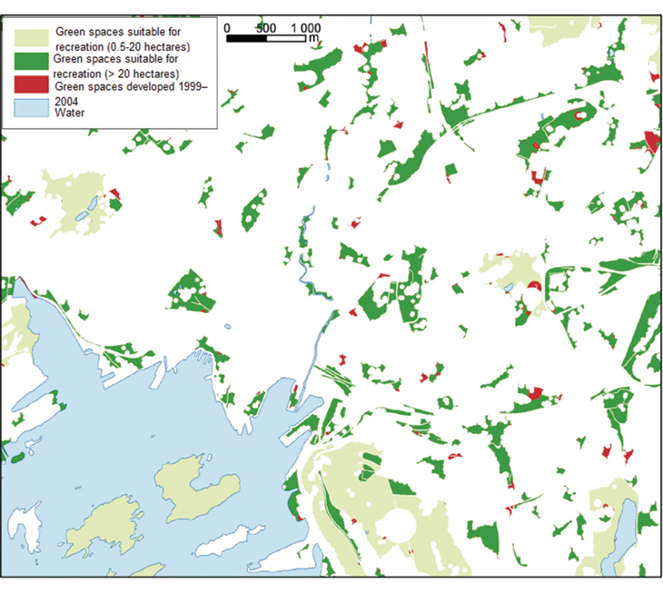 Figure 9.1 Green spaces in Oslo