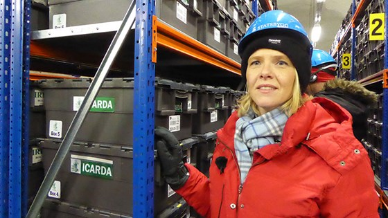 Norwegian Minister of Agriculture and Food Sylvi Listhaug visit Svalgard Global Seed Vault.