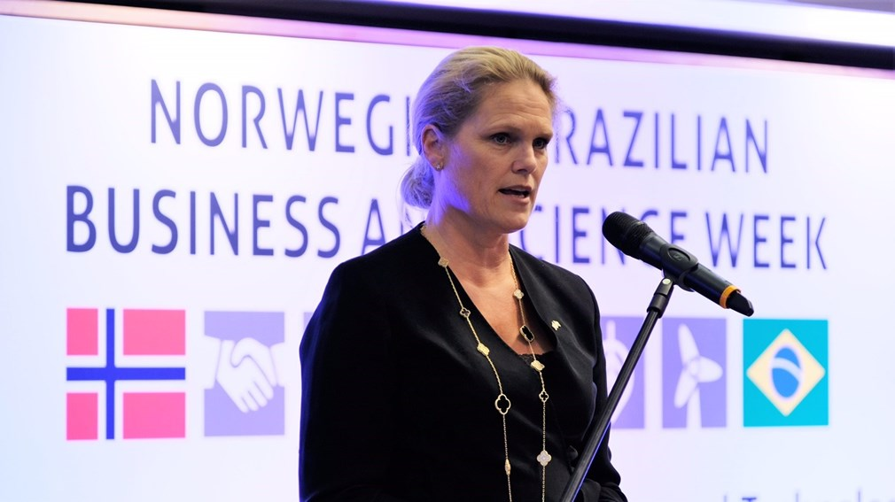 Statssekretær Ingvil Smines Tybring-Gjedde held innlegg under Norwegian-Brazilian Business and Science Week i Rio (foto:OED).