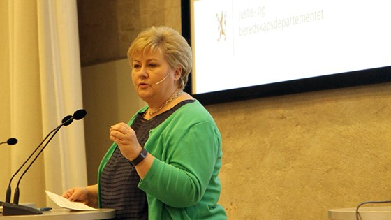 Prime Minister Erna Solberg during her presentation of the action plan