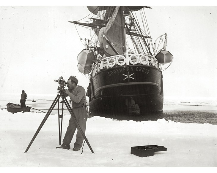 Figure 3.3 Carsten Borchgrevink surveying during his 1898–1900 Antarctic expedition. This was the first expedition to overwinter on the Antarctic mainland.