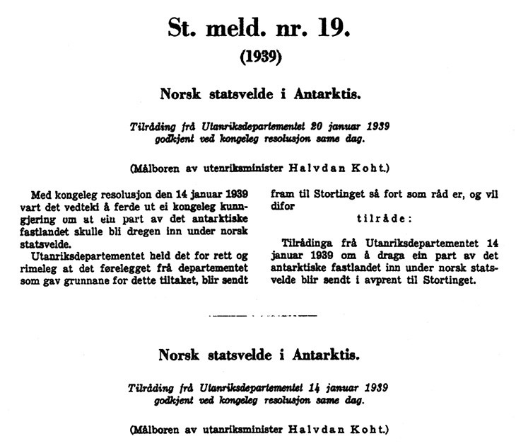 Figure 3.9 Facsimile, excerpt from Report No. 19 (1939) to the Storting, presented by Minister of Foreign Affairs Halvdan Koht.