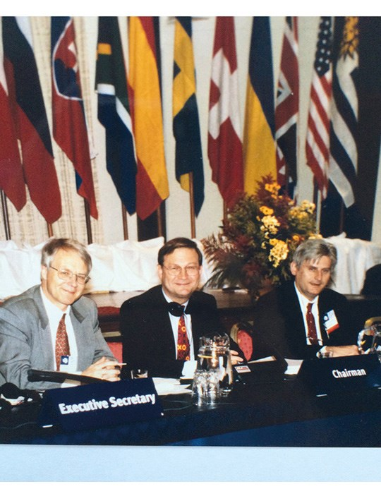 Figure 4.1 At the opening of ATCM XII in Tromsø, May 1998. The meeting chairman, Ambassador Rolf Trolle Andersen, is flanked by the meeting's executive secretary, Jon Ramberg (left), and its chief rapporteur, Odd Gunnar Skagestad (right). It was the second time...