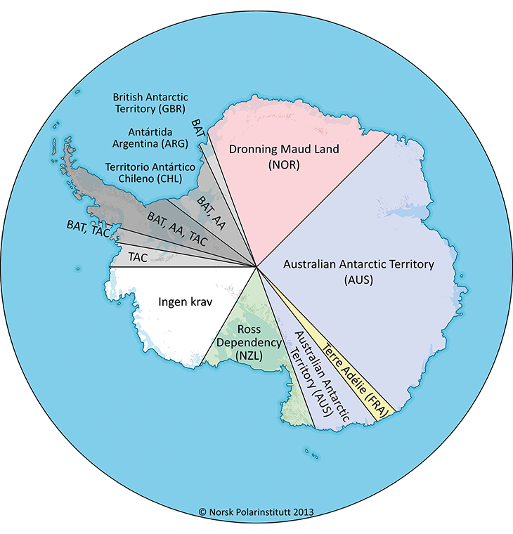 Figure 3.10  Map of the Antarctic, showing claim delimitations.