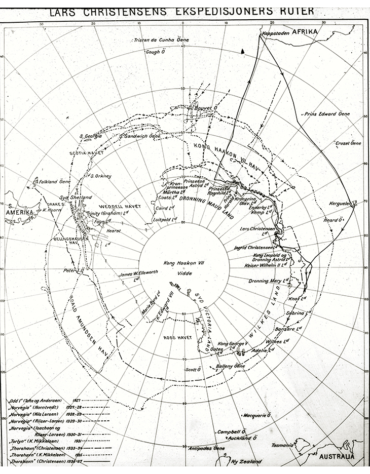Figure 3.6 Map showing the routes taken by Lars Christensen's expeditions.