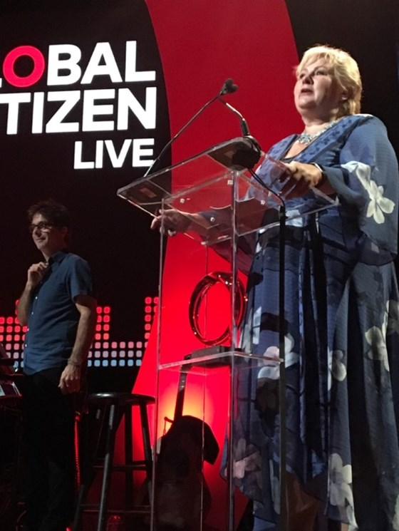 Prime Minister Erna Solberg speaks at Global Citizen Live in New York 18 September 2017.