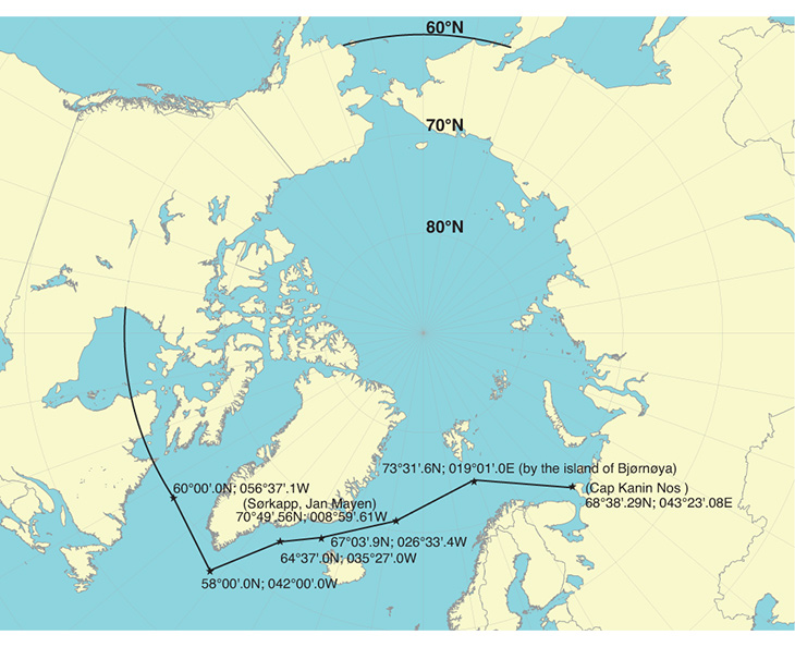 Figure 1.2 Area of application of the IMO Polar Code in Arctic waters.