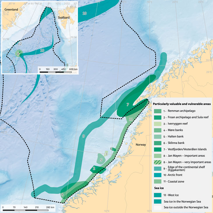 Figure 3.19 Particularly valuable and vulnerable areas in the Norwegian Sea.