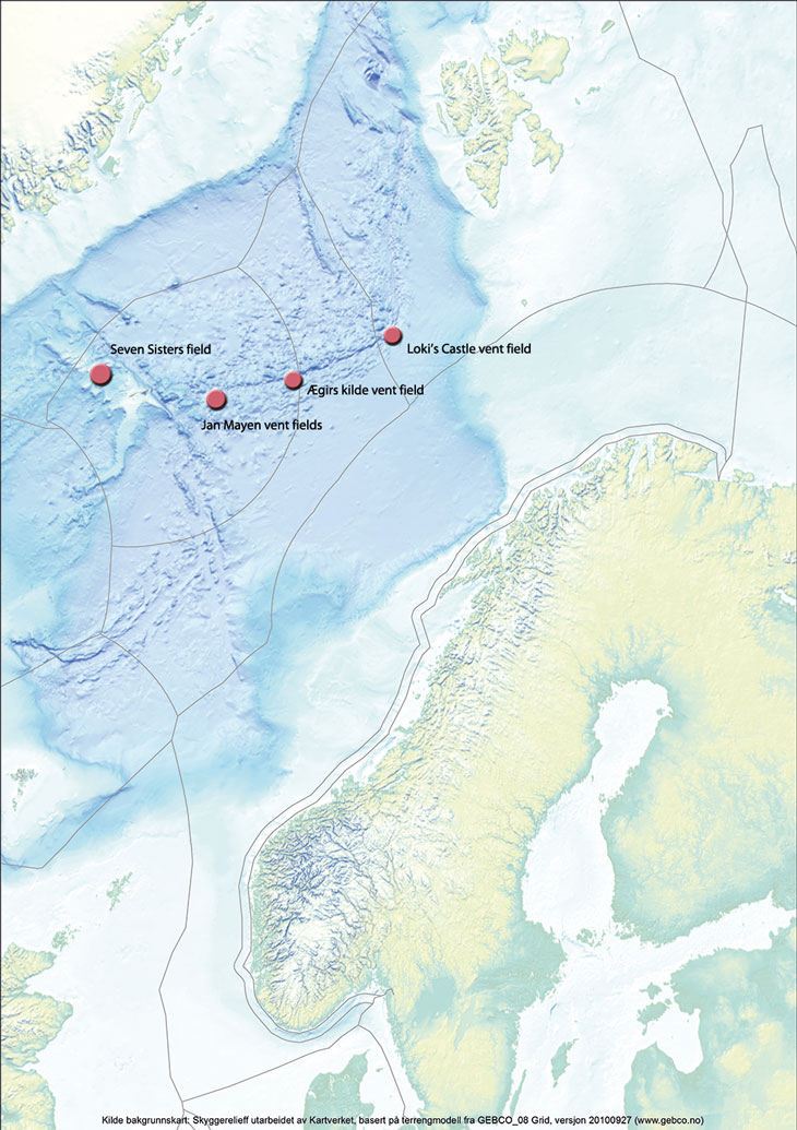 Figure 3.9 Known active hydrothermal vent fields in the Norwegian Sea.