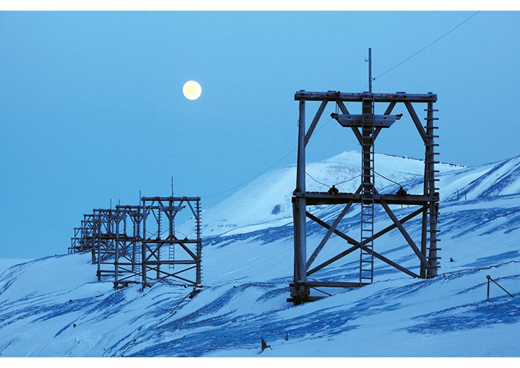 Figure 3.8 Supports for an aerial cableway from a coal mine in Svalbard, part of its protected cultural heritage.