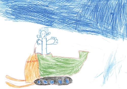 "Figure 10.2 ""Me on my scooter on our way to the cabin in the evening."" One