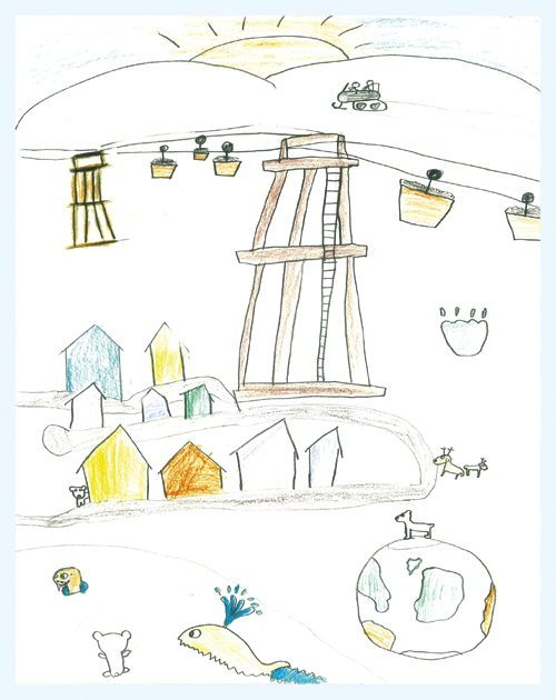 "Figure 4.1 One of the three winners in the drawing competition ""My  Svalbard – why Svalbard is a good place to live"" at  Longyearbyen School."