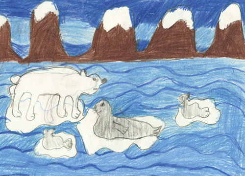"Figure 7.3 One of the three winners in the drawing competition ""My  Svalbard – why Svalbard is a good place to live"" at  Longyearbyen School."