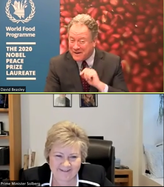 Prime Minister Erna Solberg met today with Executive Director David Beasley of the World Food Programme (WFP).