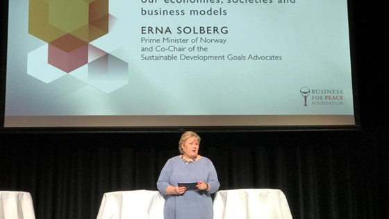 Prime Minister Erna Solberg at Business for Peace Summit in Oslo.