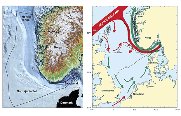 Figure 3.1 a) The bottom topography of the management plan area. b) The most important features of circulation patterns and water depths in the North Sea and Skagerrak. Red arrows: Atlantic water. Green arrows: Coastal water.