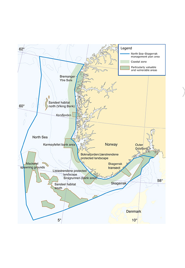 Figure 3.15 Particularly valuable and vulnerable areas in the North Sea and Skagerrak