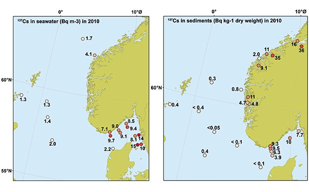 Figure 3.6 Levels of caesium 137 in sediments and seawater from the North Sea and Skagerrak in 2010