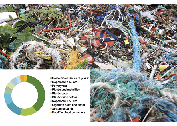 Figure 3.7 The ten marine litter items most frequently found during the annual beach clean-up day in 2012