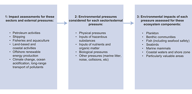 Figure 7.1 Steps in the preparation of environmental impact assessments. For each of the six reports, environmental pressures were identified (for the type of activity or associated with climate change, ocean acidification and long-range transport of pollutants...