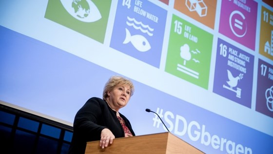 Prime Minister Solberg giving her speech at SDG Conference Bergen.