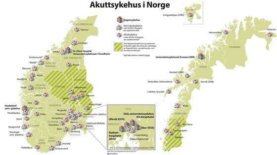 Karta Arendal Norge.Kart Over Norges Akuttsykehus Regjeringen No