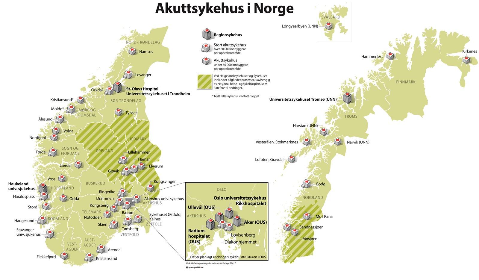 oppdatert kart over norge Kart over Norges akuttsykehus   regjeringen.no oppdatert kart over norge