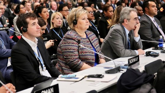 Prime Minister Erna Solberg at the COP25-meeting in Madrid.