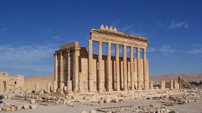The Temple of Bel in the historical city of Palmyra before its destruction in 2015.
