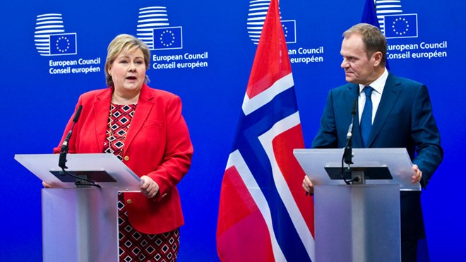 Prime Minister Erna Solberg and President of the European Council Donald Tusk