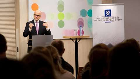 Vidar Helgesen, Minister of EEA and EU Affairs, giving a speech to an audience at Norway House.
