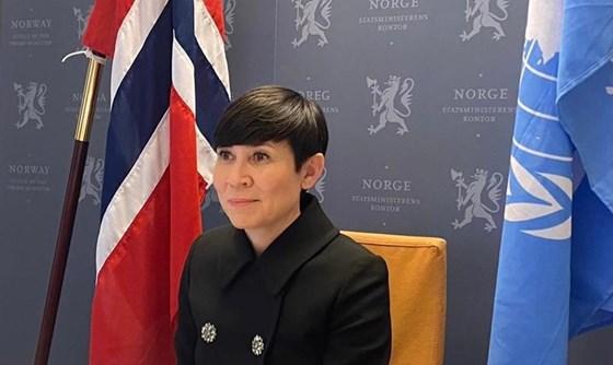 Utenriksminister Ine Eriksen Søreide deltok (digitalt) i dagens debatt i FNs sikkerhetsråd. Foto: UD