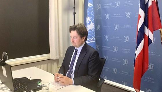 Statssekretær Jens Frølich Holte holdt det norske innlegget i debatten om beskyttelse av kritisk sivil infrastruktur. Foto: UD