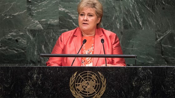Prime Minister Erna Solberg will lead the Norwegian delegation to the UN General Assembly's general debate. Credit: UN Photo