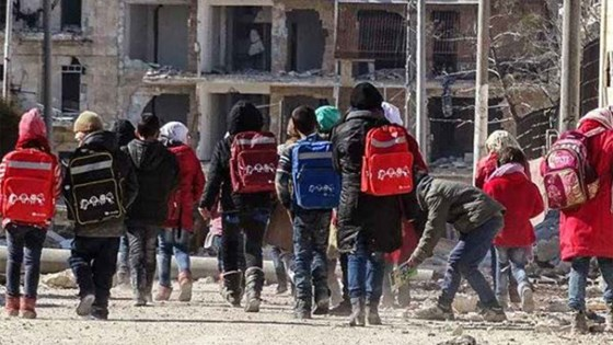 Children on their way to school in Aleppo, Syria 2017. Photo: Nadim Sherum, Syrian Arab Red Crescent