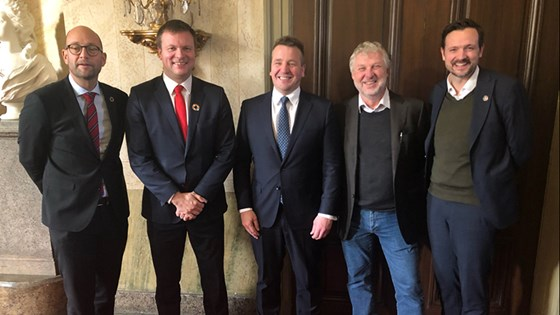 Ministers of International Development from Denmark, Finland, Iceland, Sweden and Norway gathered in Stockholm (from left). Credit: Guri Solberg, MFA