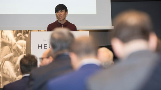 Minister of Foreign Affairs during her opening address at the HEU conference in Oslo. Credit: Nicki Twang