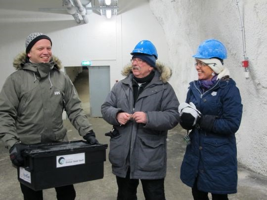 Minister of Agriculture and Food Trygve Slagsvold Vedum, Roland von Bothmer of NordGen and new director of the Global Crop Diversity Trust, Åslaug Haga, inspecting the Svalbard Global Seed Vault
