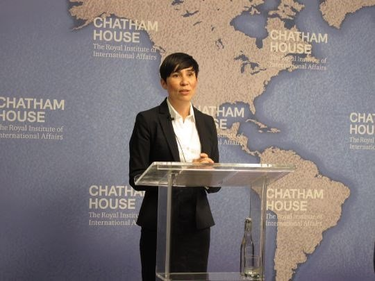 Minister of Defence Ine Eriksen Søreide speaking at Chatham House, Royal Institute of International Affairs, London, 29 April 2014.